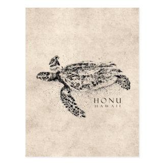 Tartaruga de mar havaiana de Honu no pergaminho do Cartão Postal