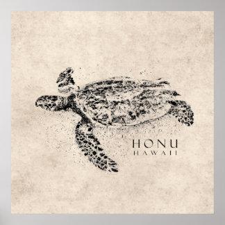Tartaruga de mar havaiana de Honu no pergaminho do Pôster