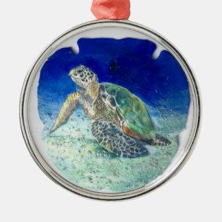 Tartaruga de mar no ornamento do dólar de areia