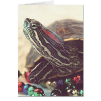 Tartaruga do natal vintage cartão