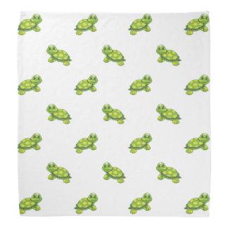 Tartaruga verde dos desenhos animados com teste faixas para cabeça