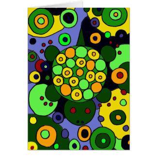 Tartarugas coloridas e arte abstracta dos círculos cartão comemorativo