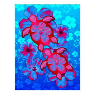 Tartarugas de Honu e flores tropicais do hibiscus Cartão Postal