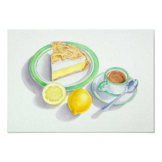 Tarte de limão e merengue com café convites personalizados