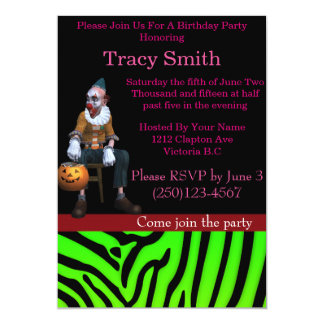 Tastefully convite do aniversário do palhaço do convite 12.7 x 17.78cm