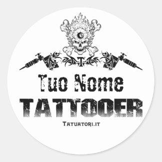 Tattooer, Tuo Nome Adesivos Em Formato Redondos
