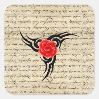 Tatuagem cor-de-rosa adesivo quadrado