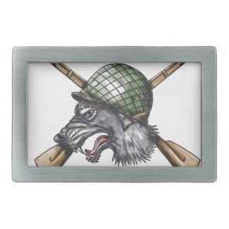Tatuagem cruzado capacete dos rifles do lobo