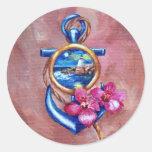 Tatuagem da âncora adesivos em formato redondos
