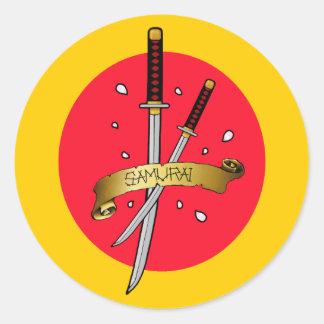 Tatuagem da espada do samurai adesivos redondos