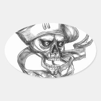Tatuagem da fita da bandeira dos EUA do patriota Adesivo Oval