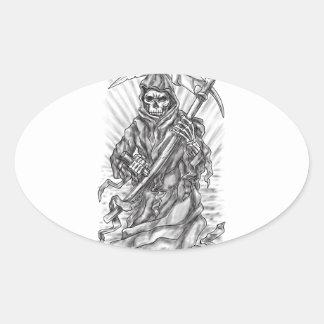 Tatuagem da fita do Scythe do Ceifador Adesivo Oval