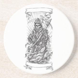 Tatuagem da fita do Scythe do Ceifador Porta-copos De Arenito