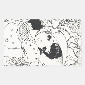 Tatuagem da tinta da menina do kawaii do manga dos adesivos retangulares