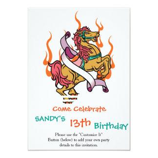tatuagem do cavalo louco em chamas alaranjadas convite 12.7 x 17.78cm