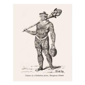 Tatuagem do padre, ilhas de Marqueses Cartão Postal