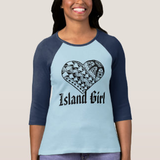 Tatuagem polinésio do coração do preto da menina camiseta