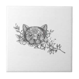 Tatuagem principal da flor do jasmim do gato