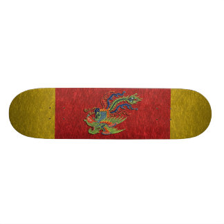 Tatuagem rico chinês do pavão skate