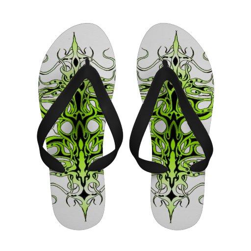 Tatuagem tribal do império - verde no preto sandália de dedo