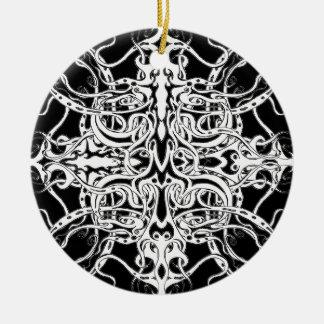 Tatuagem tribal do império - verde ornamento de cerâmica redondo