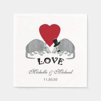 Tatus bonitos personalizados no amor guardanapo de papel