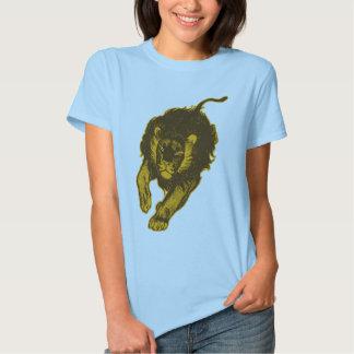 Tau do t-shirt das mulheres dos leões (ouro)