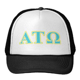 Tau letras azuis e amarelas de Omega do alfa Boné