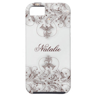 Taupe floral do vintage das capas de iphone 5 capa tough para iPhone 5