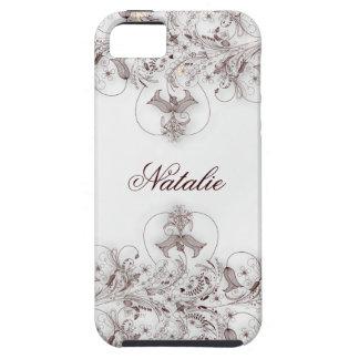 Taupe floral do vintage das capas de iphone 5 capa tough para iPhone 5