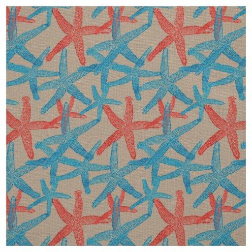 taupe náutico do vermelho azul da praia da estrela tecido
