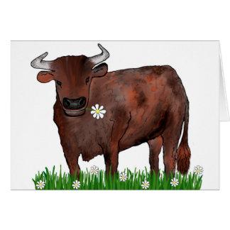 Taurus bonito Bull e cartão do zodíaco das