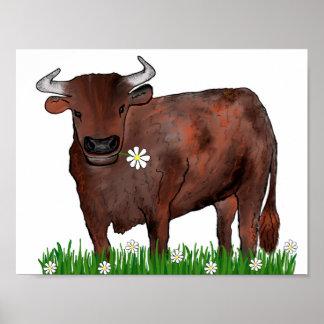 Taurus bonito Bull e poster do zodíaco das