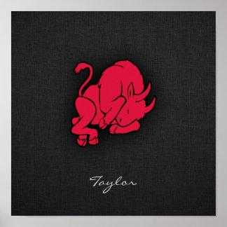 Taurus do vermelho carmesim poster