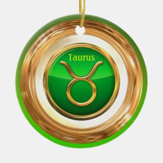 Taurus - o sinal do horóscopo de Bull Ornamento De Cerâmica Redondo