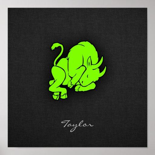 Taurus verde Chartreuse, de néon Poster