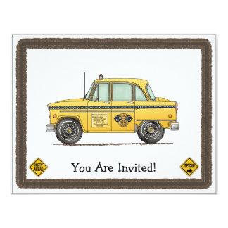 Táxi de táxi bonito convite 10.79 x 13.97cm