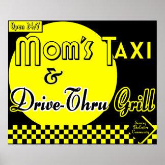 Táxi & movimentação da mãe com a arte retro da coz pôsteres