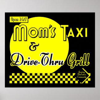 Táxi & movimentação das mães com a arte retro da c pôsteres