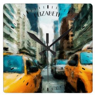 Táxis de táxi amarelos após a chuva na Nova Iorque Relógio Quadrado