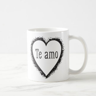 Te amo, eu te amo no espanhol caneca de café