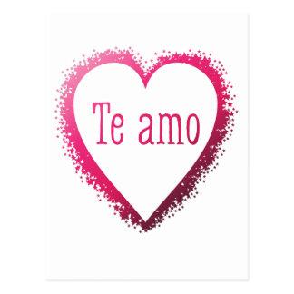 Te amo, eu te amo no espanhol no rosa cartão postal