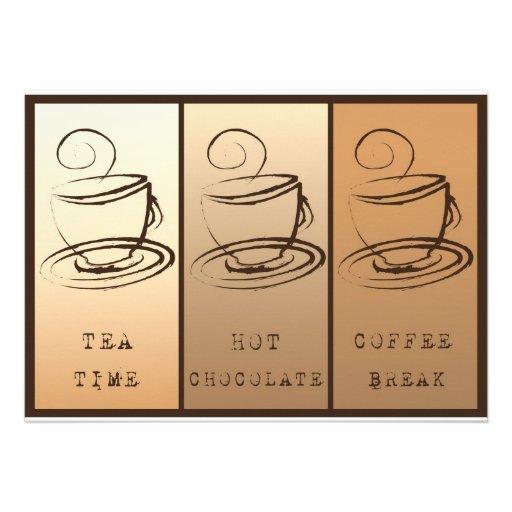 Tea Calcular o tempo, Hot Chocolate, Coffee break Convites Personalizados