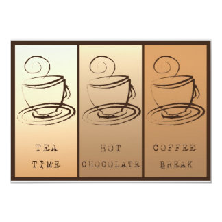 Tea Calcular o tempo, Hot Chocolate, Coffee break Convite 12.7 X 17.78cm