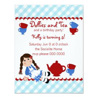 Tea party das zorras convite 10.79 x 13.97cm