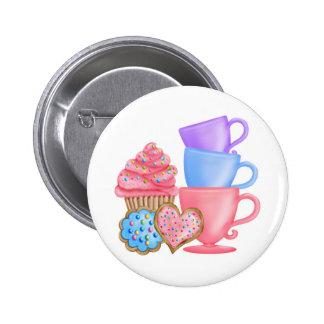 Tea party do aniversário do país das maravilhas boton
