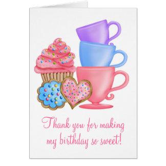 Tea party do aniversário do país das maravilhas cartão de nota