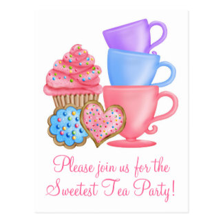 Tea party do aniversário do país das maravilhas cartoes postais