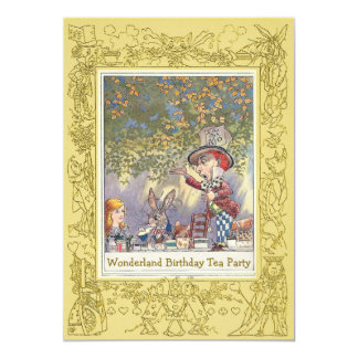 Tea party do aniversário do país das maravilhas do convite 12.7 x 17.78cm