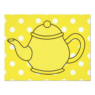 Tea party do bule V2 das bolinhas Convites Personalizados